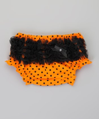 Black & Orange Polka Dot Ruffle Diaper Cover - Infant