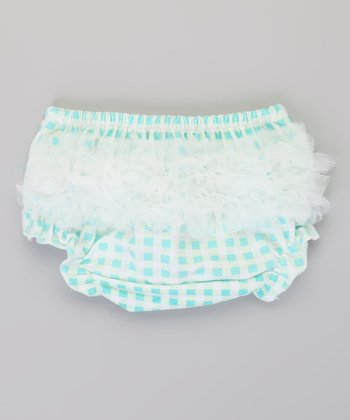 Aqua & White Gingham Ruffle Diaper Cover