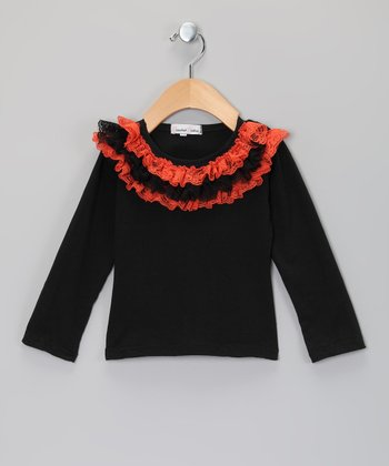 Black & Orange Ruffle Long-Sleeve Tee - Infant, Toddler & Girls