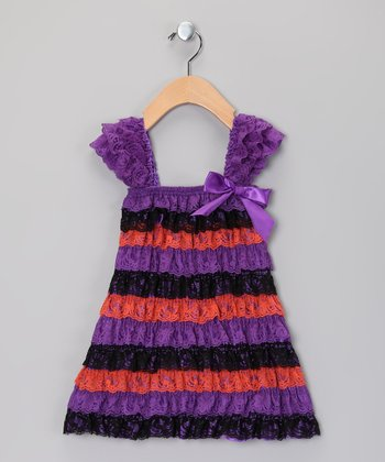 Purple & Black Ruffle Dress - Infant, Toddler & Girls