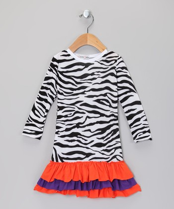 Black & White Zebra Ruffle Dress - Toddler & Girls