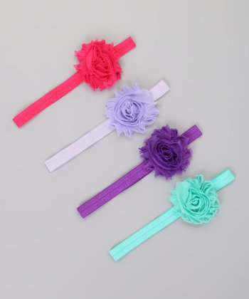 Pink & Purple Chiffon Flower Headband Set