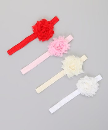 Pink & White Chiffon Flower Headband Set