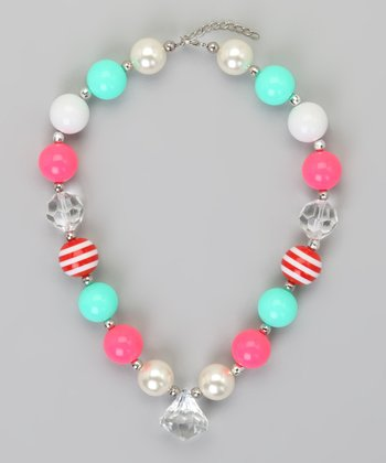 Pink & Aqua Chunky Bead Necklace