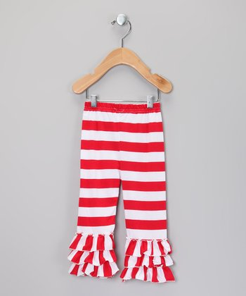 Red & White Stripe Ruffle Bell Pants - Infant, Toddler & Girls