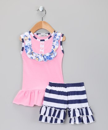 Pink & Black Stripe Ruffle Top & Shorts - Infant, Toddler & Girls
