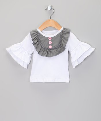 White & Gray Ruffle Bell-Sleeve Top - Infant, Toddler & Girls