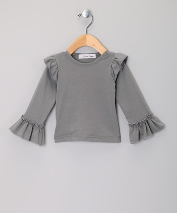 Gray Ruffle Long-Sleeve Top - Infant, Toddler & Girls