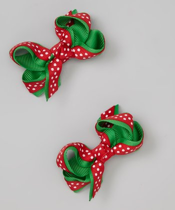 Red Polka Dot Hug Bow Clip Set