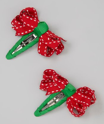 Red Saddle Stitch Holiday Snap Clip Set