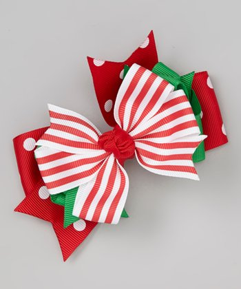 Red & Green Candy Stripe Bow Clip