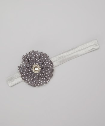 Gray Twirl Flower Headband