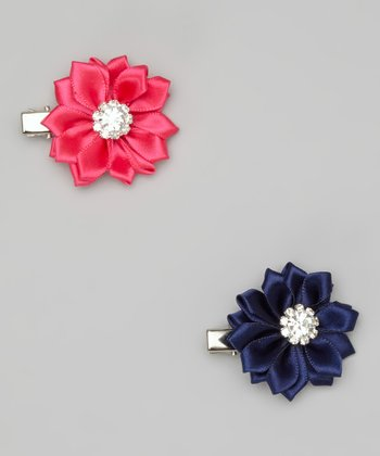 Fuchsia & Navy Satin Bloom Clip Set