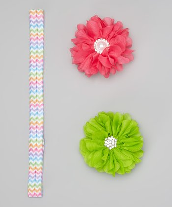 Pink & Lime Flower Headband & Clip Set