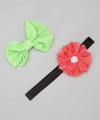 Neon Lime & Dark Salmon Headband & Clip Set