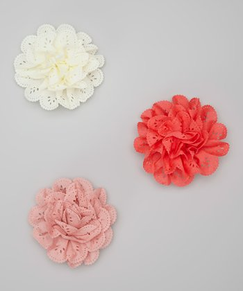 Ivory, Rose & Salmon Eyelet Clip Set