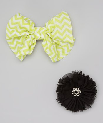 Lime & Black Zigzag Bow Clip Set