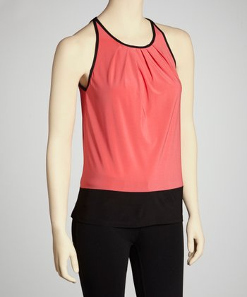 Coral & Black Color Block Sleeveless Top