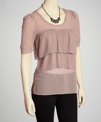 Taupe Tiered Top
