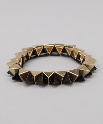 Gold & Black Stud Stretch Bracelet