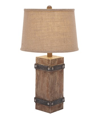 Beige Wood Block Table Lamp