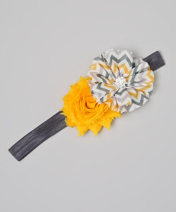 Gray & Yellow Zigzag Rhinestone Flower Headband