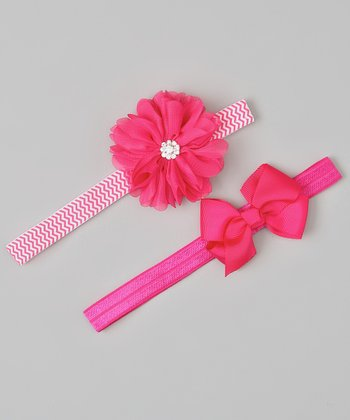 Hot Pink Bow & Rhinestone Flower Headband Set
