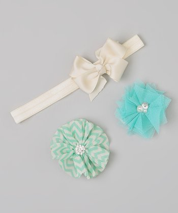 Ivory & Turquoise Bow Headband & Flower Clip Set