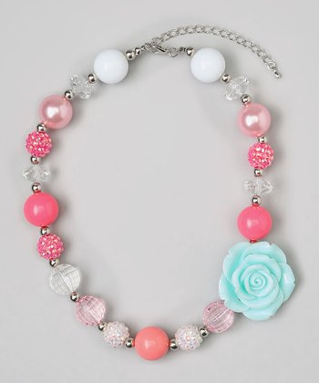 Hot Pink & Aqua Flower Bead Necklace