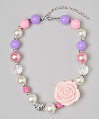 Lavender & Pink Flower Bead Necklace