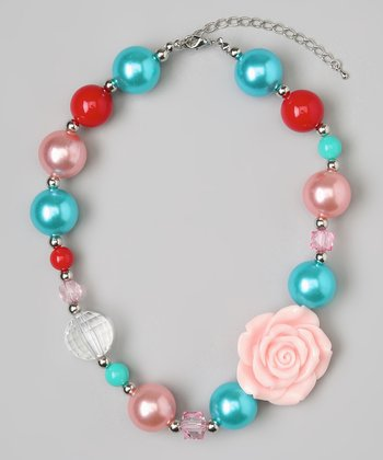 Blue & Pink Flower Bead Necklace