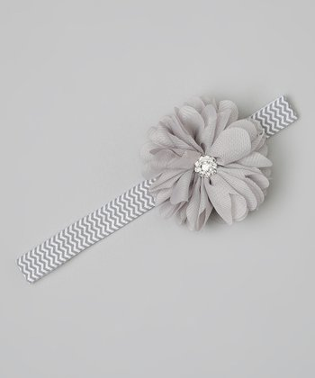 Gray Rhinestone Flower Headband