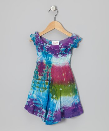 Purple & Turquoise Tie-Dye Ruffle Dress - Toddler & Girls