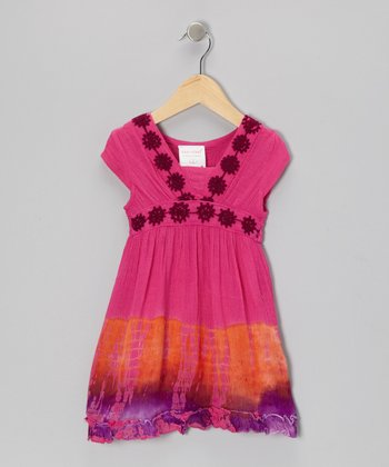 Fuchsia Tie-Dye Flower Dress - Toddler & Girls