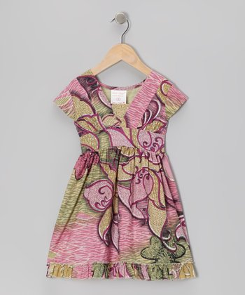 Pink & Brown Floral Dress - Toddler & Girls