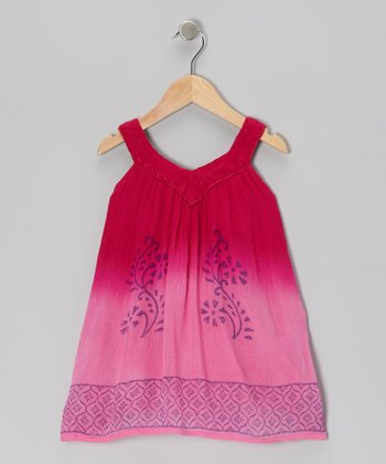 Fuchsia Embroidered Yoke Dress - Toddler & Girls