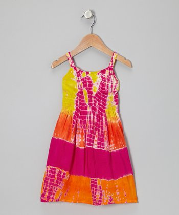 Yellow & Fuchsia Tie-Dye Shirred Dress - Toddler & Girls
