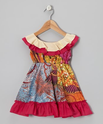 Orange & Fuchsia Feather Ruffle Dress - Toddler & Girls