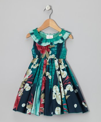 Sea Green Floral Ruffle Yoke Dress - Toddler & Girls
