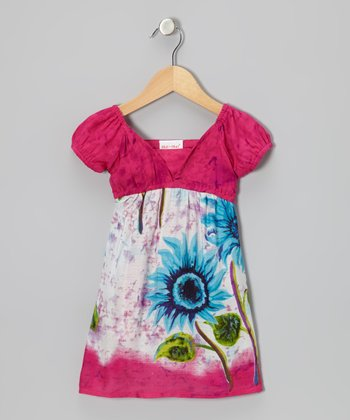 Pink & Blue Daisy Empire-Waist Dress - Toddler & Girls