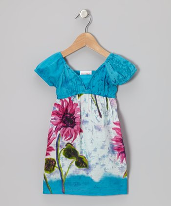 Blue & Pink Daisy Empire Waist Dress - Girls
