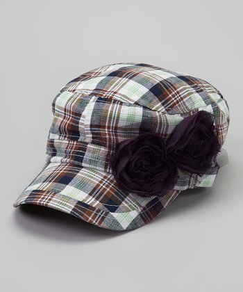 Green & Purple Plaid Rosette Newsboy Hat