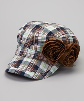Green & Brown Plaid Rosette Newsboy Hat