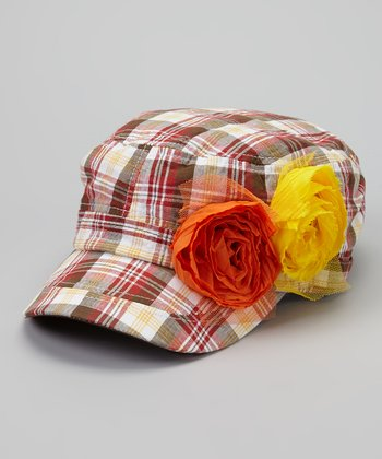 Red & Orange Plaid Rosette Newsboy Hat