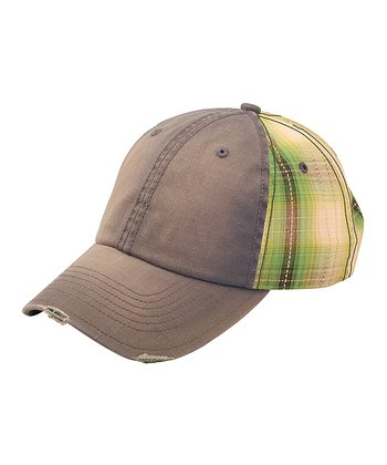 Gray & Green Plaid Baseball Cap