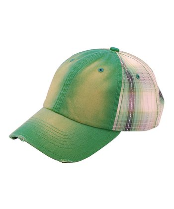 Kelly Green Plaid Baseball Cap