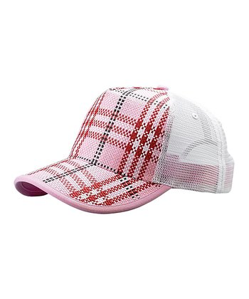 Pink Plaid Straw Trucker Hat