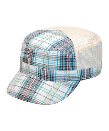 White Plaid Cadet Cap