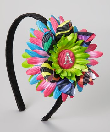 Green & Hot Pink Tie-Dye Flower Initial Headband