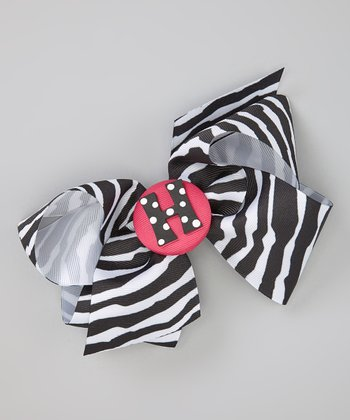 Hot Pink & Black Zebra Initial Bow Clip